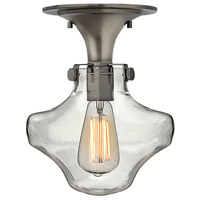 Hinkley 3150AN Congress 1 Light 9 inch Antique Nickel Flush Mount Ceiling Light, Retro Glass