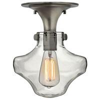 Hinkley 3150AN Congress 1 Light 9 inch Antique Nickel Foyer Flush Mount Ceiling Light Retro Glass