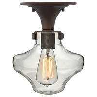 Hinkley 3150OZ Congress 1 Light 9 inch Oil Rubbed Bronze Flush Mount Ceiling Light, Retro Glass