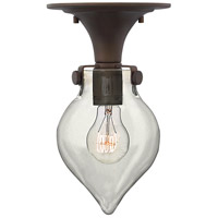 Hinkley 3151OZ Congress 1 Light 6 inch Oil Rubbed Bronze Flush Mount Ceiling Light, Retro Glass