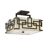 Hinkley 3161OZ Lanza 3 Light 15 inch Oil Rubbed Bronze Semi Flush Ceiling Light, Oatmeal Linen Shade