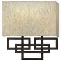 Lanza 2 Light 10 inch Oil Rubbed Bronze ADA Sconce Wall Light, Oatmeal Linen Shade