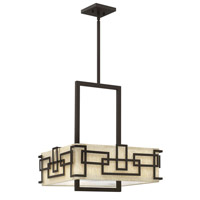 Hinkley 3163OZ Lanza 3 Light 18 inch Oil Rubbed Bronze Chandelier Ceiling Light, Oatmeal Linen Shade