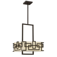 Hinkley 3164OZ Lanza 3 Light 15 inch Oil Rubbed Bronze Chandelier Ceiling Light, Oatmeal Linen Shade