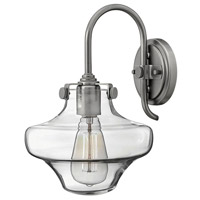 Hinkley 3171AN Congress 1 Light 9 inch Antique Nickel Sconce Wall Light, Retro Glass