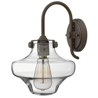 Hinkley 3171OZ Congress 1 Light 9 inch Oil Rubbed Bronze Sconce Wall Light, Retro Glass