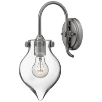Hinkley 3177AN Congress 1 Light 6 inch Antique Nickel Sconce Wall Light, Retro Glass