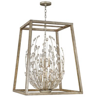 Loren 6 Light 25 inch Silver Leaf with Weathered Ash Accents Foyer Light Ceiling Light, Open Frame