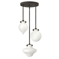Hinkley 3196OZ Congress 3 Light 20 inch Oil Rubbed Bronze Pendant Ceiling Light, Etched Opal Glass