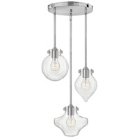 Congress 3 Light 20 inch Chrome Pendant Ceiling Light, Clear Glass