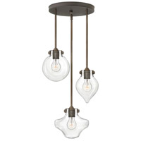 Hinkley 3198OZ Congress 3 Light 20 inch Oil Rubbed Bronze Pendant Ceiling Light, Clear Glass