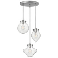 Hinkley Lighting Congress 3 Light Pendant in Antique Nickel with Clear Seedy Glass 3198AN