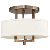 Hinkley 3200BR Hampton 3 Light 15 inch Brushed Bronze Foyer Semi-Flush Mount Ceiling Light in Soft Linen Hardback Shade, Incandescent