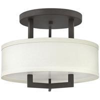 Hinkley 3200KZ-LED Hampton LED 15 inch Buckeye Bronze Foyer Semi-Flush Mount Ceiling Light Off-White Linen Hardback Shade