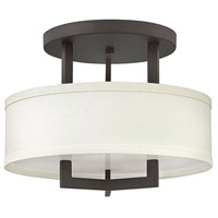 Hampton 3 Light 15 inch Buckeye Bronze Foyer Semi-Flush Mount Ceiling Light in Off-White Linen Hardback Shade, Incandescent, Off-White Linen Hardback Shade