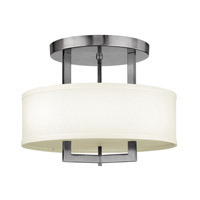 Hampton 3 Light 15 inch Antique Nickel Semi-Flush Mount Ceiling Light in Off-White Linen Hardback Shade, GU24, Off-White Linen Hardback Shade
