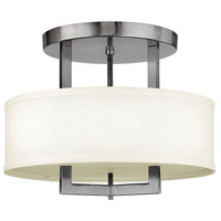 Hampton LED 15 inch Antique Nickel Semi Flush Ceiling Light in Soft Linen Hardback Shade