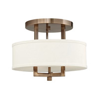 Hampton 3 Light 15 inch Brushed Bronze Semi-Flush Mount Ceiling Light in Off-White Linen Hardback Shade, GU24, Off-White Linen Hardback Shade