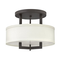 Hampton 3 Light 15 inch Buckeye Bronze Semi-Flush Mount Ceiling Light in Off-White Linen Hardback Shade, GU24, Off-White Linen Hardback Shade