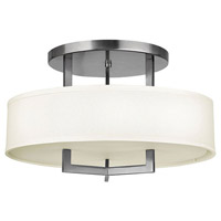 Hampton 3 Light 20 inch Antique Nickel Foyer Semi-Flush Mount Ceiling Light in Soft Linen Hardback Shade, Incandescent
