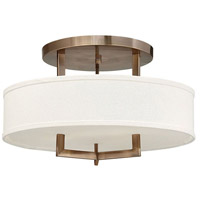 Hinkley 3201BR Hampton 3 Light 20 inch Brushed Bronze Foyer Semi-Flush Mount Ceiling Light in Soft Linen Hardback Shade, Incandescent