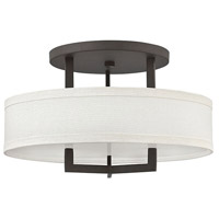 Hinkley 3201KZ Hampton 3 Light 20 inch Buckeye Bronze Foyer Semi-Flush Mount Ceiling Light in Incandescent, Off-White Linen Hardback Shade