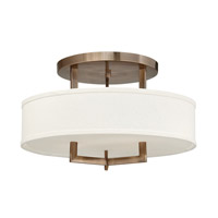 Hampton 3 Light 20 inch Brushed Bronze Semi-Flush Mount Ceiling Light in Off-White Linen Hardback Shade, GU24, Off-White Linen Hardback Shade