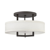 Hinkley 3201KZ-GU24 Hampton 3 Light 20 inch Buckeye Bronze Semi-Flush Mount Ceiling Light in Off-White Linen Hardback Shade, GU24, Off-White Linen Hardback Shade
