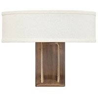 Hampton 2 Light 15 inch Brushed Bronze Sconce Wall Light in Soft Linen Hardback Shade