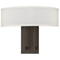 Hinkley 3202KZ Hampton 2 Light 15 inch Buckeye Bronze Sconce Wall Light in Off-White Linen Hardback Shade, Off-White Linen Hardback Shade