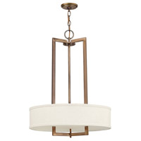 Hinkley 3203BR Hampton 3 Light 20 inch Brushed Bronze Inverted Pendant Ceiling Light in Soft Linen Hardback Shade, Incandescent