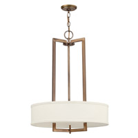 Hampton 3 Light 20 inch Brushed Bronze Chandelier Ceiling Light in Off-White Linen Hardback Shade, GU24, Off-White Linen Hardback Shade