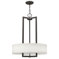 Hinkley Lighting Hampton 3 Light Chandelier in Buckeye Bronze with Off-White Linen Hardback Shade 3203KZ