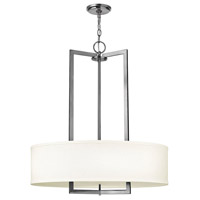 Hampton 3 Light 26 inch Antique Nickel Inverted Pendant Ceiling Light in Soft Linen Hardback Shade, Incandescent