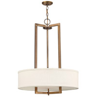 Hinkley 3204BR Hampton 3 Light 26 inch Brushed Bronze Chandelier Ceiling Light in Soft Linen Hardback Shade, Incandescent