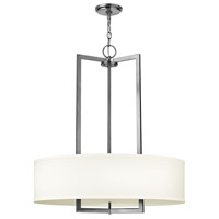 Hinkley 3204AN-GU24 Hampton 3 Light 26 inch Antique Nickel Chandelier Ceiling Light in Off-White Linen Hardback Shade, GU24, Off-White Linen Hardback Shade