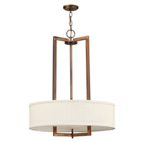 Hinkley 3204BR-GU24 Hampton 3 Light 26 inch Brushed Bronze Chandelier Ceiling Light in Off-White Linen Hardback Shade, GU24, Off-White Linen Hardback Shade