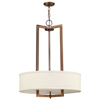 Hinkley 3204BR-LED Hampton LED 26 inch Brushed Bronze Chandelier Ceiling Light in Soft Linen Hardback Shade