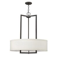 Hinkley 3204KZ-GU24 Hampton 3 Light 26 inch Buckeye Bronze Chandelier Ceiling Light in Off-White Linen Hardback Shade, GU24, Off-White Linen Hardback Shade