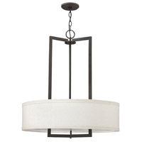 Hinkley Lighting Hampton 3 Light Chandelier in Buckeye Bronze with Off-White Linen Hardback Shade 3204KZ