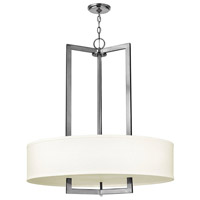 Hinkley 3206AN Hampton 3 Light 30 inch Antique Nickel Inverted Pendant Ceiling Light in Soft Linen Hardback Shade, Incandescent