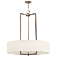 Hinkley 3206BR Hampton 3 Light 30 inch Brushed Bronze Chandelier Ceiling Light in Soft Linen Hardback Shade, Incandescent