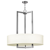 Hinkley 3206AN-GU24 Hampton 3 Light 30 inch Antique Nickel Foyer Ceiling Light in Off-White Linen Hardback Shade, GU24, Off-White Linen Hardback Shade