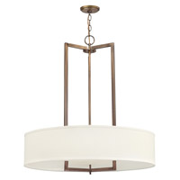 Hinkley 3206BR-GU24 Hampton 3 Light 30 inch Brushed Bronze Foyer Ceiling Light in Off-White Linen Hardback Shade, GU24, Off-White Linen Hardback Shade