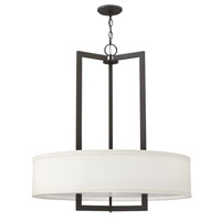 Hinkley Lighting Hampton 3 Light Foyer in Buckeye Bronze with Off-White Linen Hardback Shade 3206KZ-GU24