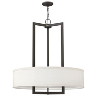 Hinkley Lighting Hampton 3 Light Foyer in Buckeye Bronze with Off-White Linen Hardback Shade 3206KZ