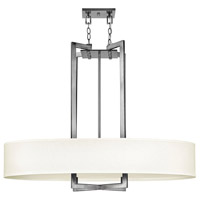 Hinkley 3208AN Hampton 4 Light 40 inch Antique Nickel Inverted Pendant Ceiling Light in Soft Linen Hardback Shade