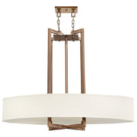 Hinkley 3208BR Hampton 4 Light 40 inch Brushed Bronze Chandelier Ceiling Light in Soft Linen Hardback Shade, Oval