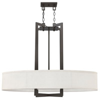 Hinkley 3208KZ Hampton 4 Light 40 inch Buckeye Bronze Chandelier Ceiling Light in Off-White Linen Hardback Shade, Off-White Linen Hardback Shade