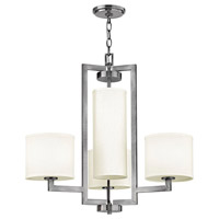Hinkley 3209AN Hampton 4 Light 25 inch Antique Nickel Chandelier Ceiling Light in Soft Linen Hardback Shade